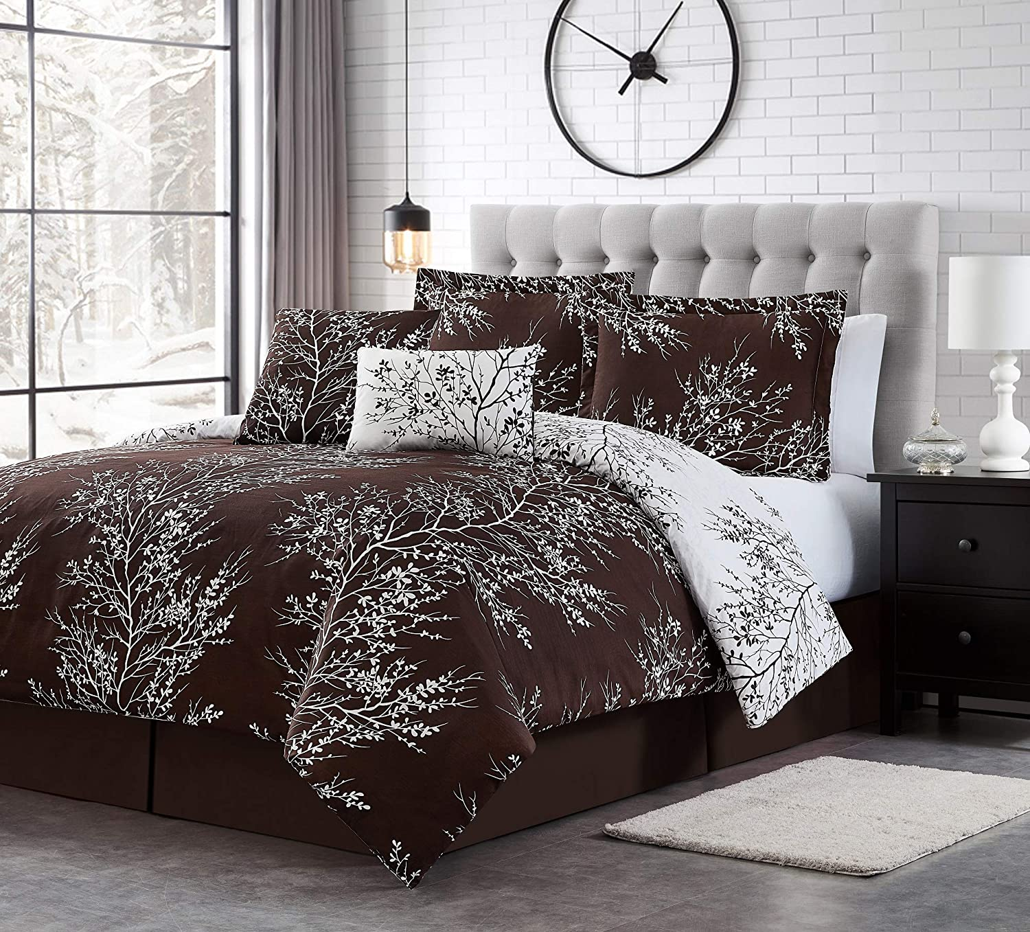 Spirit Linen 6pc Warm and Cozy Comforter Set Platinum Bedding Collection Baby Soft Texture Plush Bed Blanket (Chocolate, Queen)