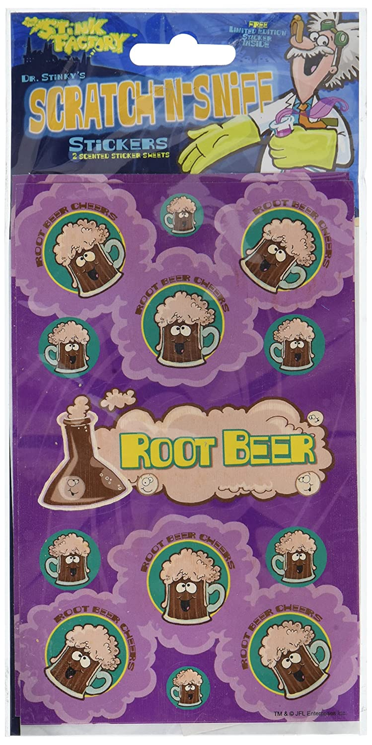 Dr Stinkys ROOT BEER Scratch-and-Sniff Stickers, 2 sheets 4 x 6 3/4, 26 stickers: Amazon.es: Juguetes y juegos