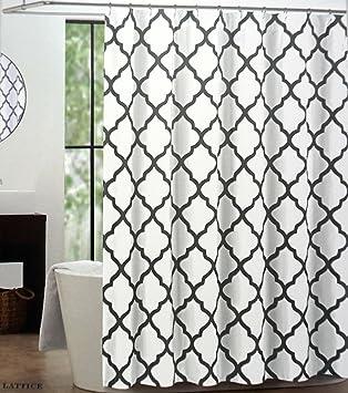 Max Studio Lattice Quatrefoil Fabric Shower Curtain Black U0026 Metallic Silver  On White