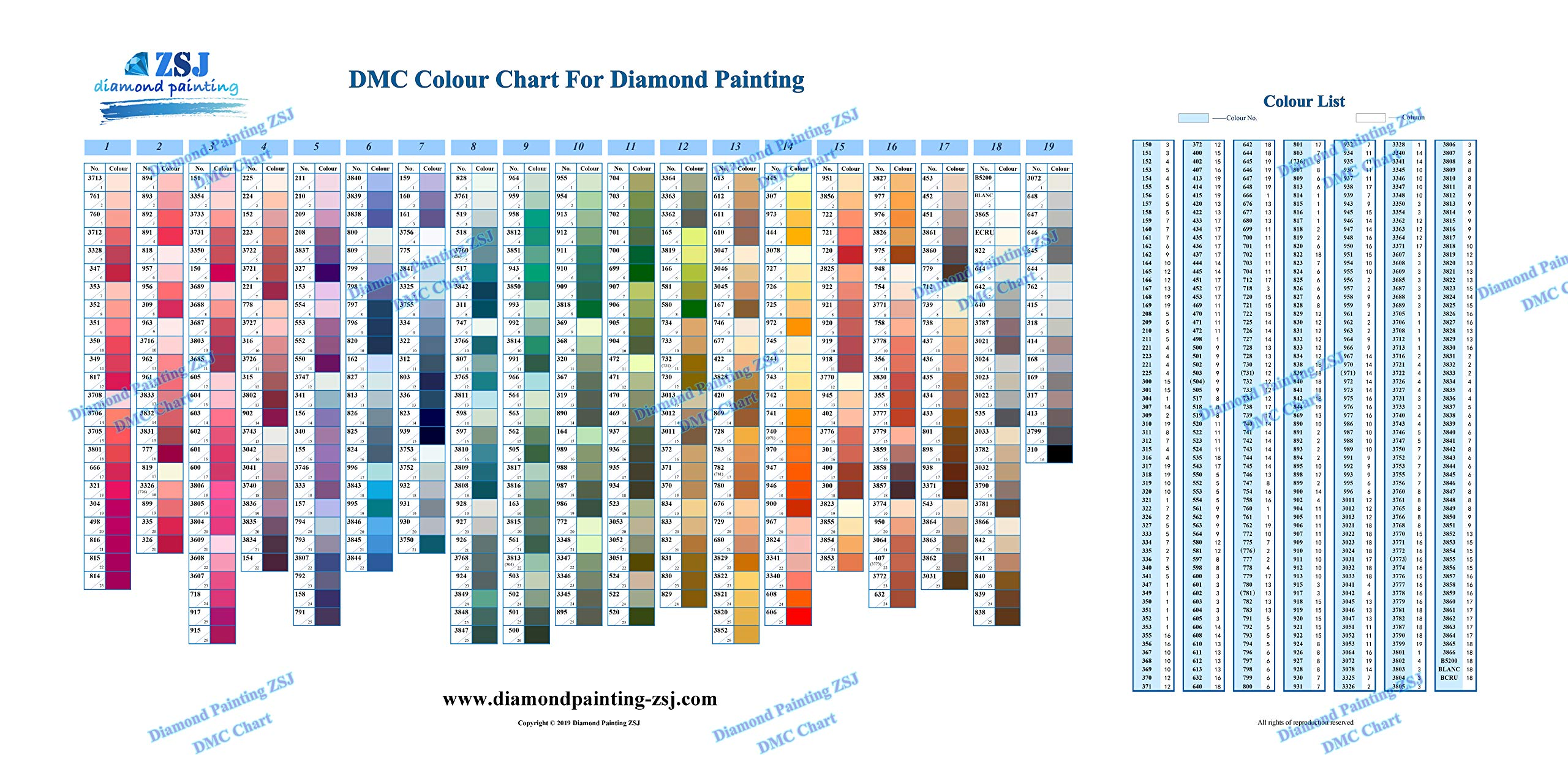 DMC Color Chart for Diamond Painting The Complete Table 2019 DMC All Color Card by ZSJ Diamond Painting