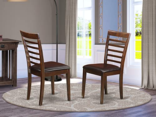 Milan Kitchen Chair with Faux Leather Seat – Mahogany Finish