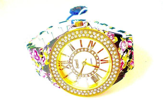 Sami RSM-77941-5 Reloj de Pulsera de Mujer Corona Cristal Correa Azul Flowers Print ...: Amazon.es: Relojes