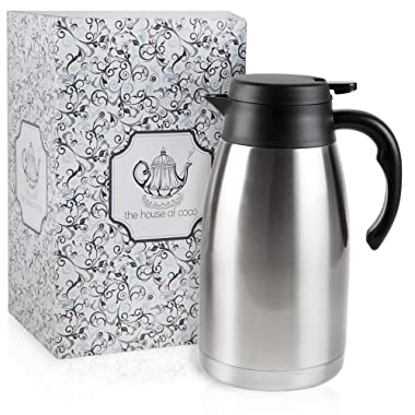Stainless Steel Vacuum Insulated Carafe - Advanced Heat Retention, Double Walled Coffee / Tea Dispenser Thermos For Cold and Hot Drinks, Wide Leak-proof Mouth For Easy Pouring - 60 Ounce