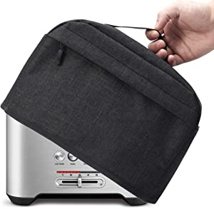 VOSDANS 2 Slice Toaster Cover with Zipper & Open Pockets Kitchen Small Appliance Cover with Handle, Dust and Fingerprint Protection, Machine Washable, Black (Patent Design)
