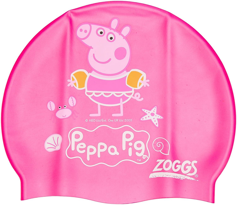 zoggs kids girls peppa pig swim cap with non slip inner surface