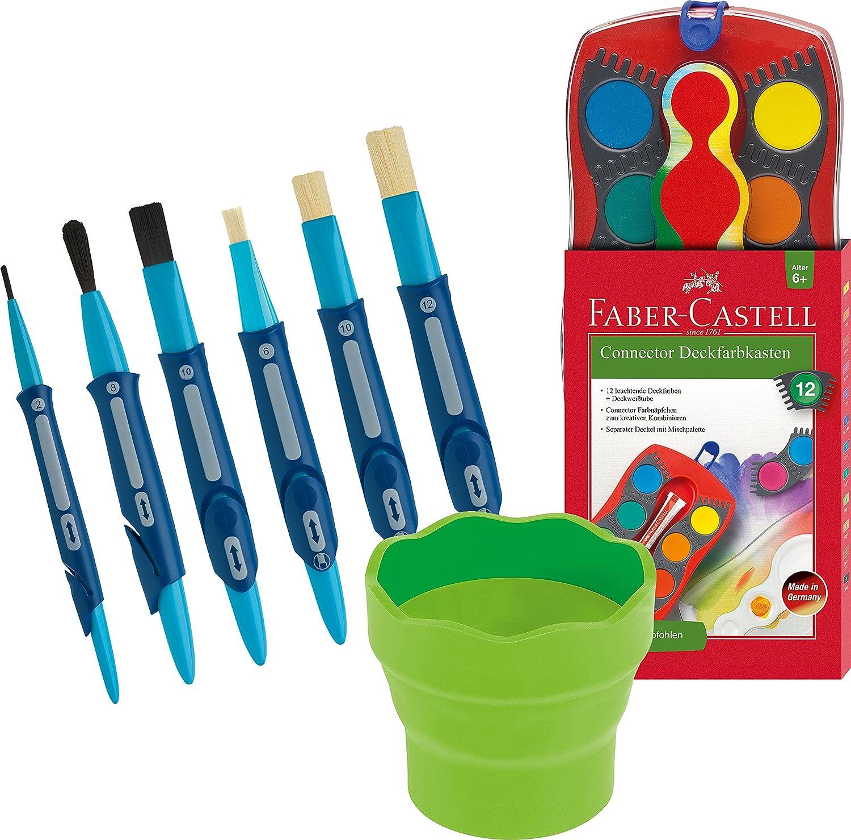 Faber-Castell - Farbkasten CONNECTOR mit 12 Farben, inklusive Deckweiß + Wasserbecher [ rot ] + Click & Go Borsten - und Haarpinsel