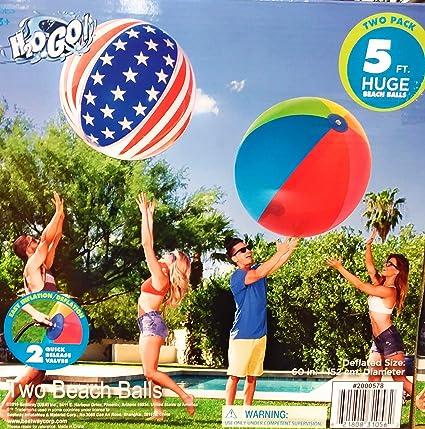H2OGo Huge Giant Beach Balls Two Pack, Both Beach Balls are 5 Feet