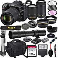 Nikon D7500 DSLR Camera with 18-140mm VR and 70-300mm Lens Bundle with 420-800mm Preset f/8 Telephoto Lens + 128GB Card…