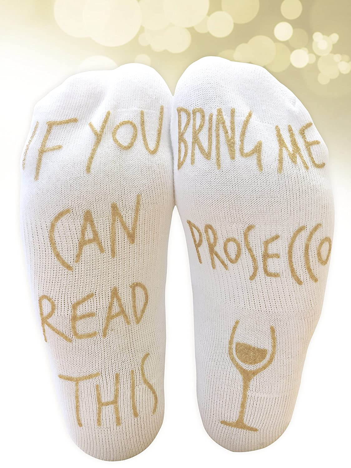'If You Can Read This Bring Me Prosecco' Funny Ankle Socks Myprints