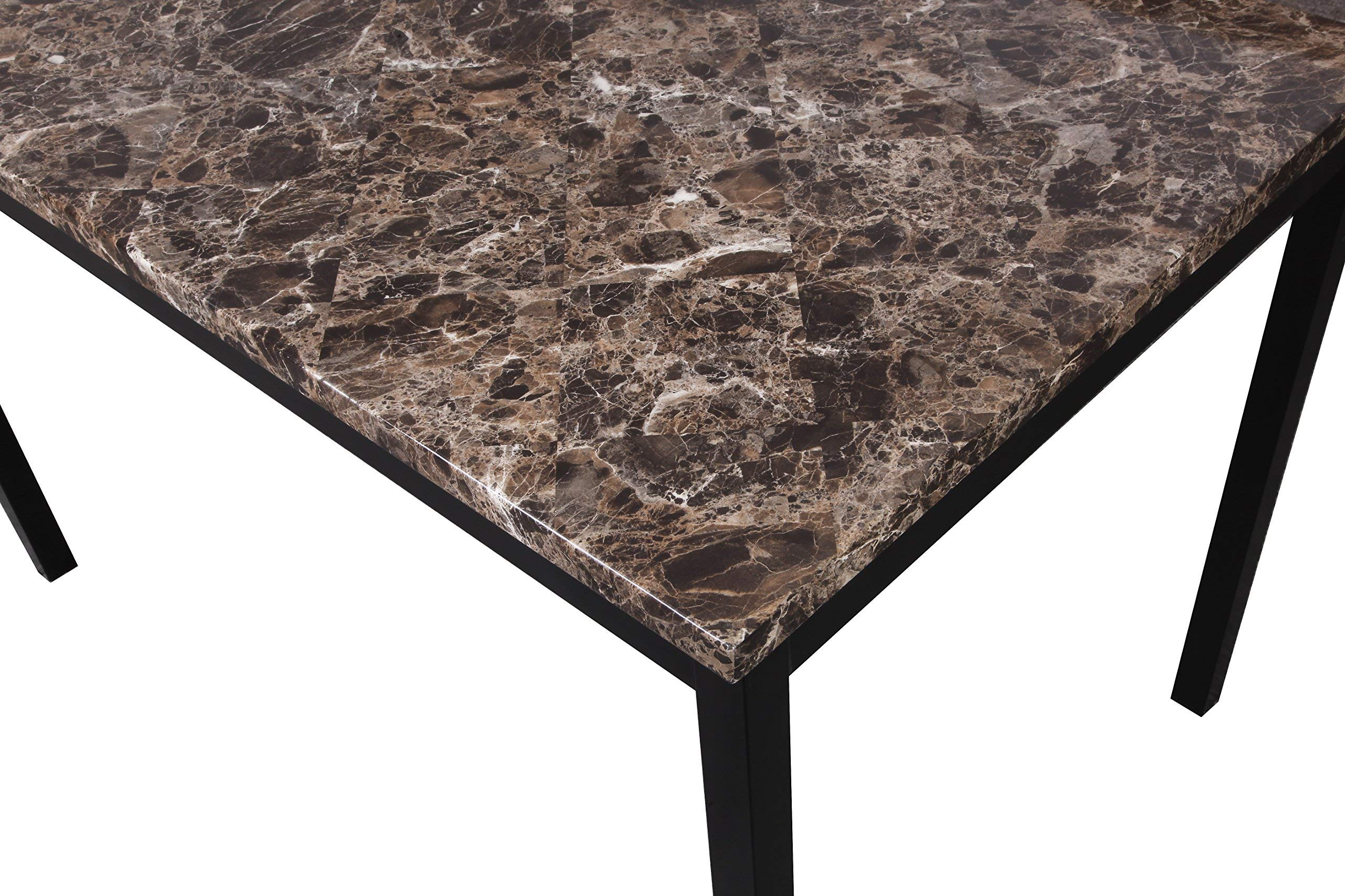 Roundhill Furniture T007 Noyes Metal Dining Table with Laminated Faux Marble Top by Roundhill Furniture (Image #3)