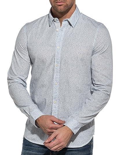 acfe1cf85aa2 Petrol Industries - Chemise Blanche Homme Motifs Bleu  Amazon.fr  Vêtements  et accessoires