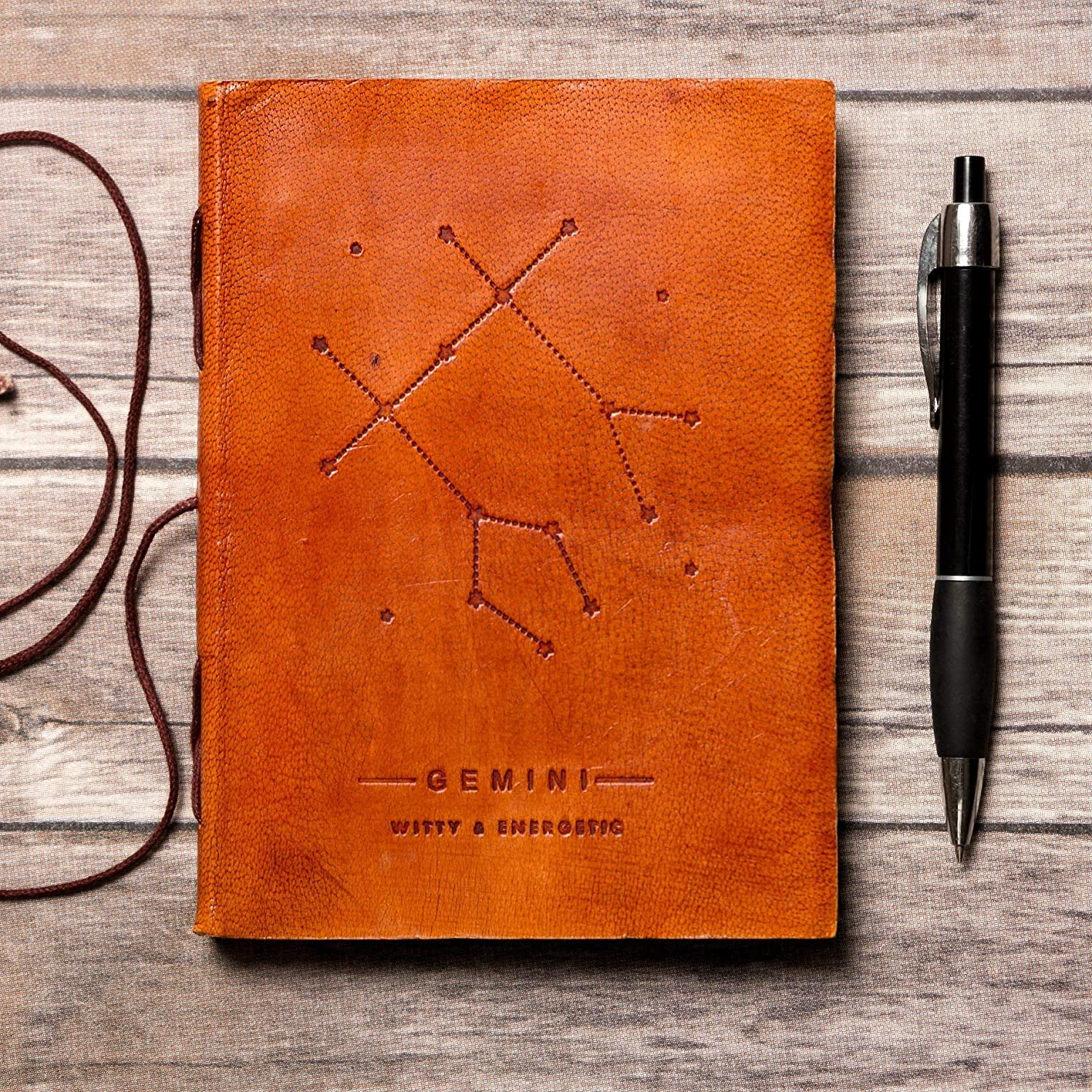 Gemini Leather Journal//Zodiac Handmade Journal//Astrology Journal//Horoscope Journal//Gifts for Him//Travel Journal//Sketchbook//Embossed Genuine Leather Journal//Your Personal Bound Notebook