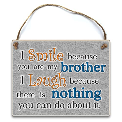 HmHome I Smile Because You Are My Brother Hanging Plaque Gift Birthday Christmas