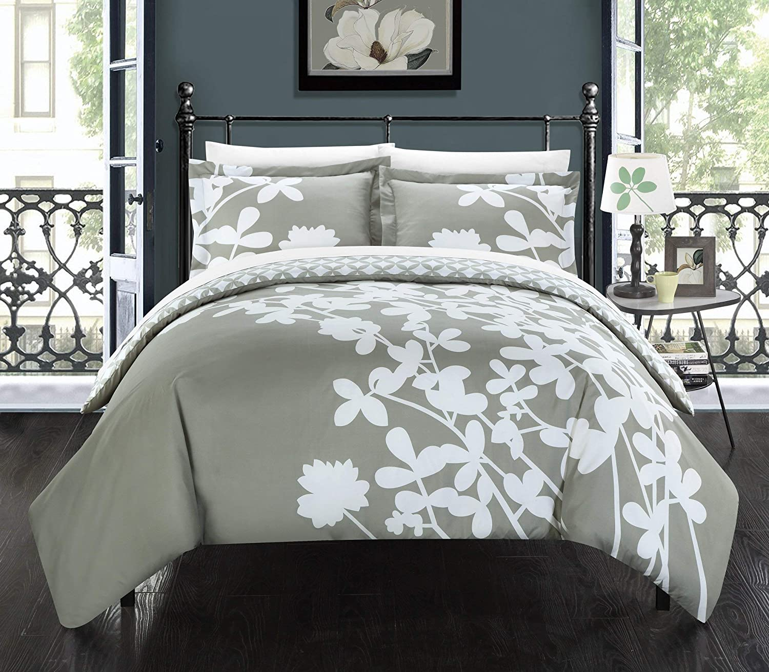 Chic Home 3 Piece Calla Lily Reverse Duvet Cover Set Queen Grey DS3762-AN