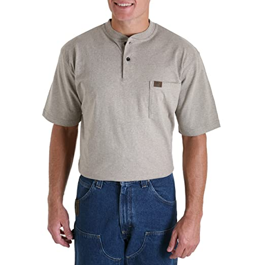 f4a9741cac60 Wrangler Men's Riggs Workwear Short Sleeve Henley, Oatmeal Heather, ...