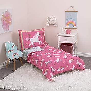 carters rainbow unicorn 4 piece toddler bedding set pink aqua white - Toddler Bedding