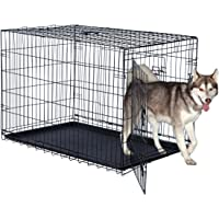 Double Door Folding Dog Crate - Portable Large 42-Inch Metal Wire Kennel, Plastic Leak-Proof Tray, Slide Bolt Latches…
