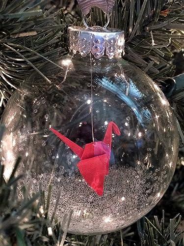 Origami Crane Glass Christmas Ornament Red