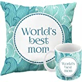 Printelligent Worlds Best Mom Printed 12X12 Cushion Cover With Filler And 330 ml Ceramic Mug