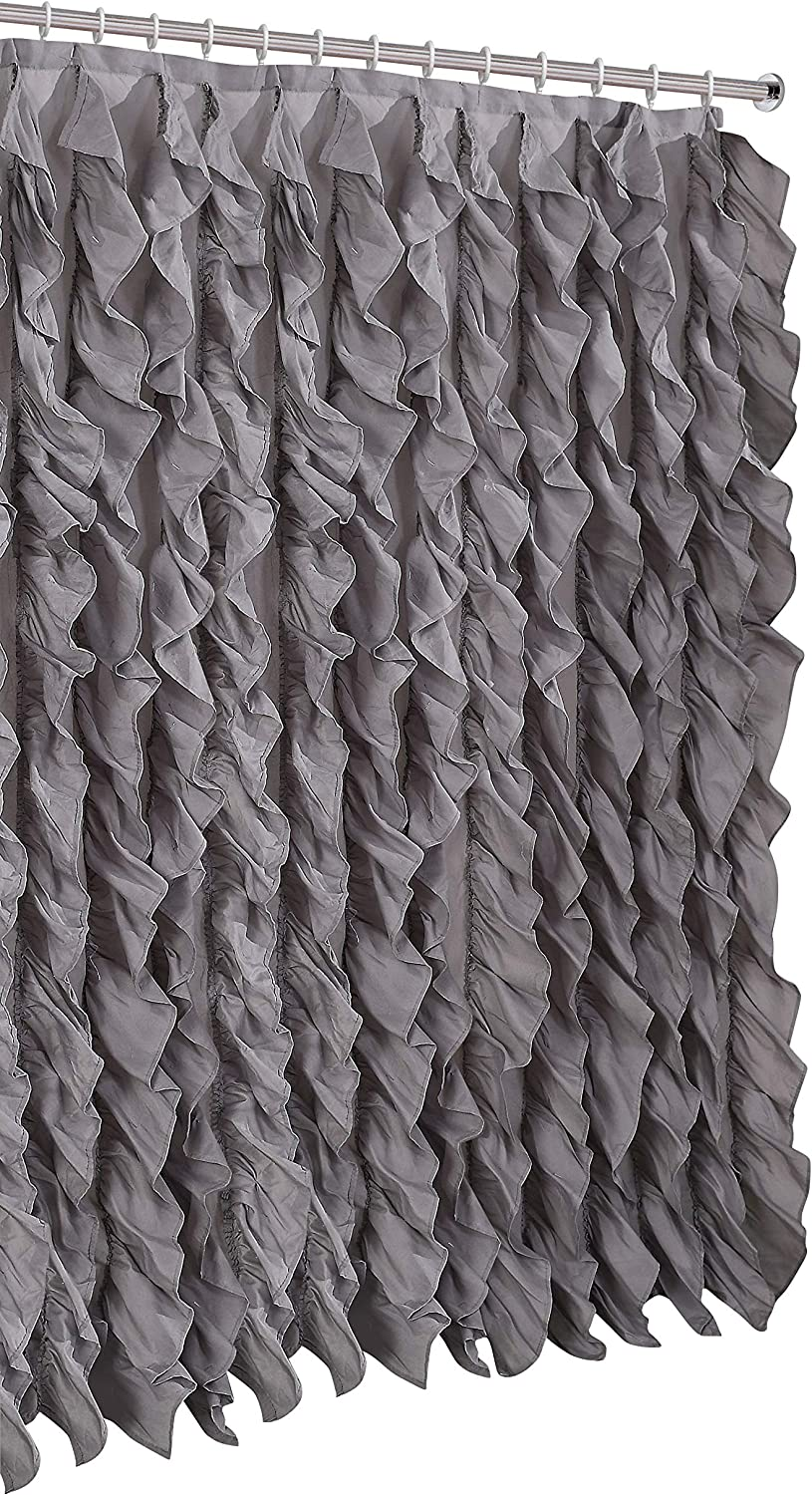 spring Home Waterfall Shabby Chic Ruffled Fabric Shower Curtain (Silver)
