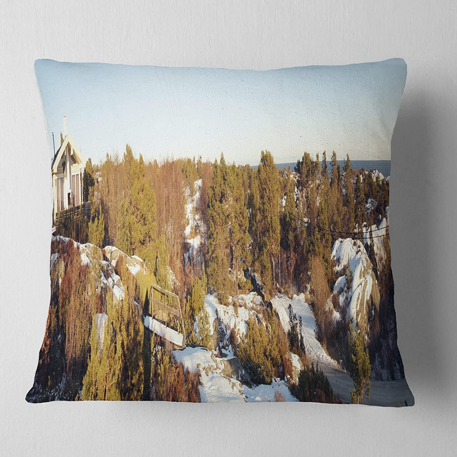 Sofa Throw Pillow 16 in in Designart CU11154-16-16 Rocky Coast with Wooden Cottage Landscape Printed Cushion Cover for Living Room x 16 in Insert Side