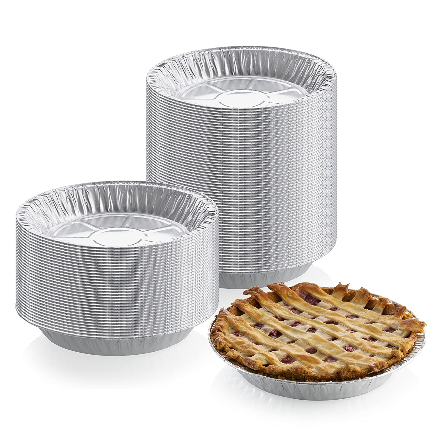 "9"" x 1"" Medium Depth Aluminum Silver Foil Pie Pan (Pack of 50) – Disposable Round Tin Plates for Pies, Tart Quiche, Cheese Cake and Deserts, Perfect for Pie Fundraisers"
