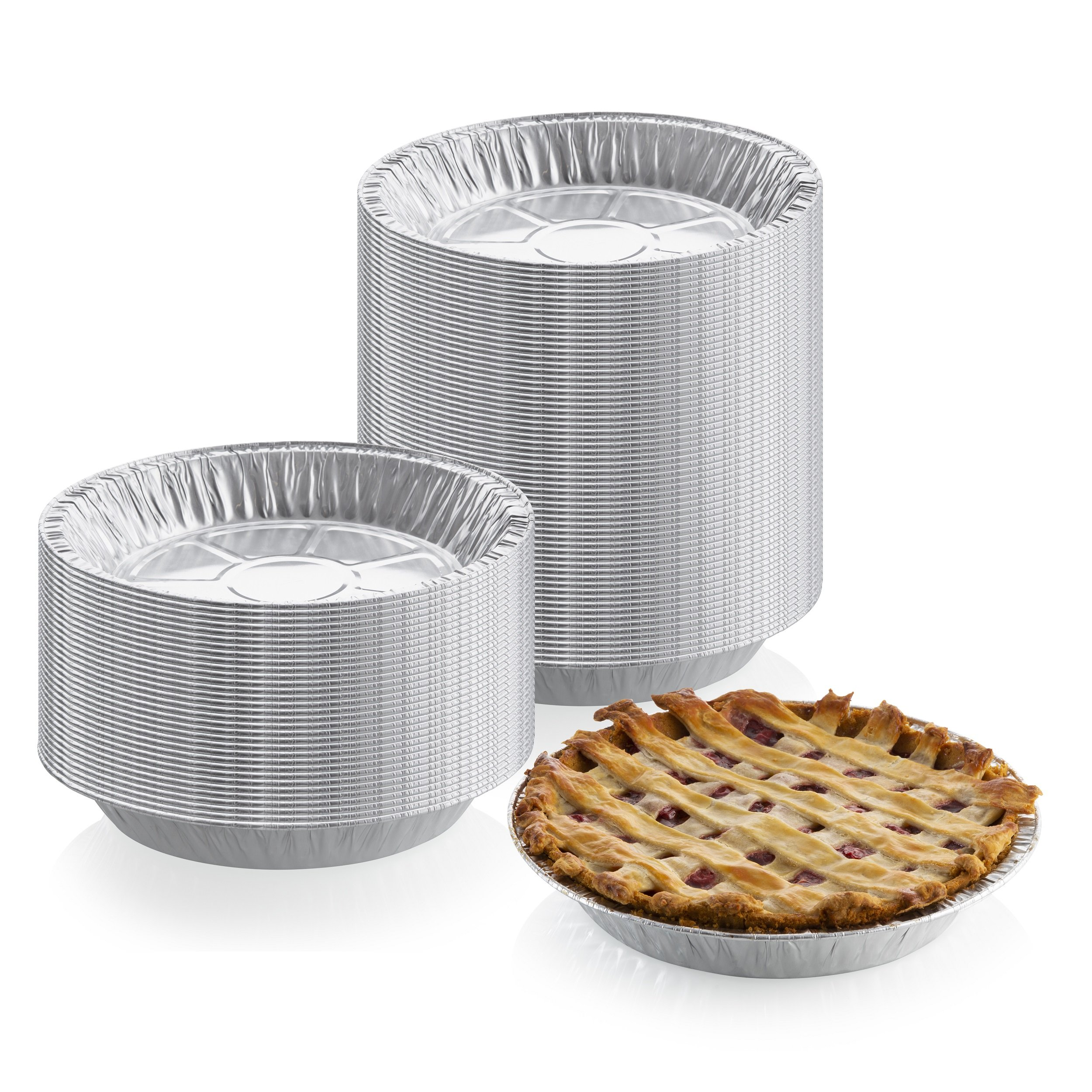 9'' x 1'' Medium Depth Aluminum Silver Foil Pie Pan (Pack of 50) – Disposable Round Tin Plates for Pies, Tart Quiche, Cheese Cake and Deserts, Perfect for Pie Fundraisers