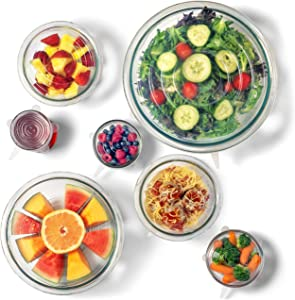The Absolute Kitchen Premium Silicone Stretch Lids, Stretchable, Reusable, and Convenient Food Covers Ensures Freshness – Expandable For Various Size and Shaped Cups, Dishes, Bowls (7 Clear)