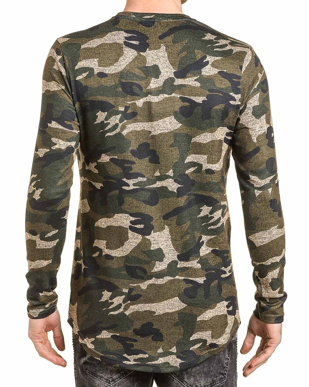 Gov Denim - Ts-hirt Mann Übermaß khaki Tarnung lange Ärmel - Color: Grün,  Size: XS: Amazon.de: Bekleidung