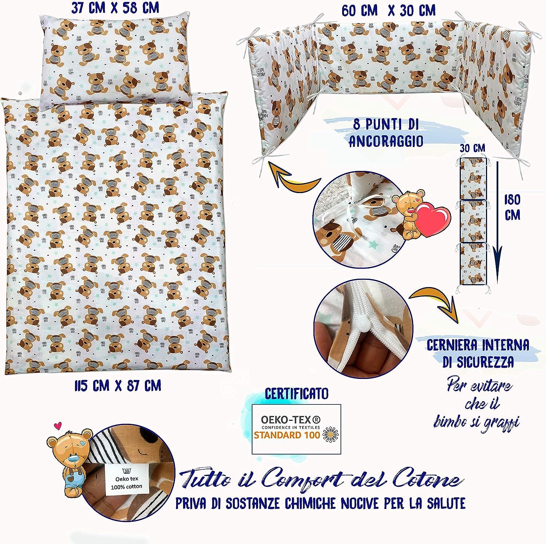 Mega/'n Set Lettino Con Paracolpi Neonato Biancheria Per Culla Bambini 100/% Cotone Cucita a Mano Certificata OEKO-TEX Made in Europa