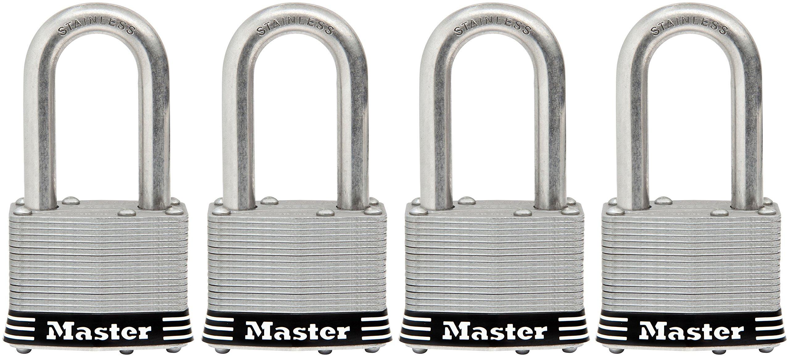 Master Lock Padlock, Laminated Stainless Steel Lock, 1-3/4 in. Wide, 1SSQLF (Pack of 4-Keyed Alike)