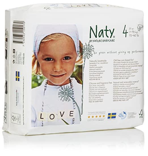 28 opinioni per Naty by Nature babycare Pannolini, Taglia 4, (7-18 kg), 4 confezioni da 27 [108