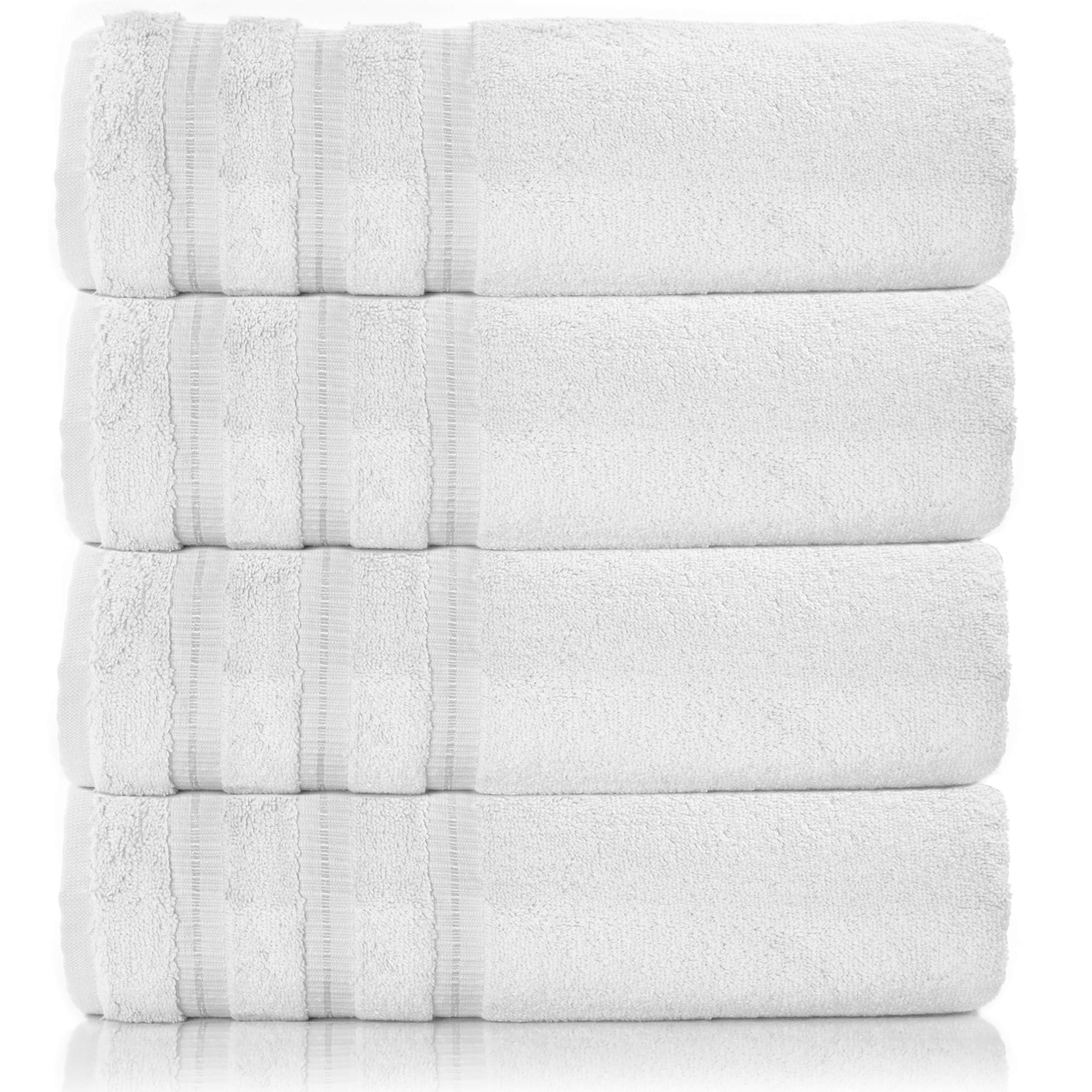 Silken Textile   Premium Towel Set 100% Turkish Cotton   4 Pieces Bath Sets Towel for Hotel Bathroom Bridal Registry Dorm Home Essentials (White)