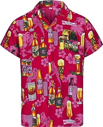 Redstar Fancy Dress - Camisa Hawaiana de Manga Corta - para Hombre - Cerveza y Playa - Todas Las Tallas - Rosa - L: Amazon.es: Ropa y accesorios