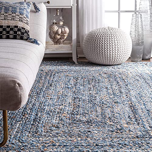 Indian Casual Handmade Braided Blue Color Denim and Jute Area Rugs 2 x 3