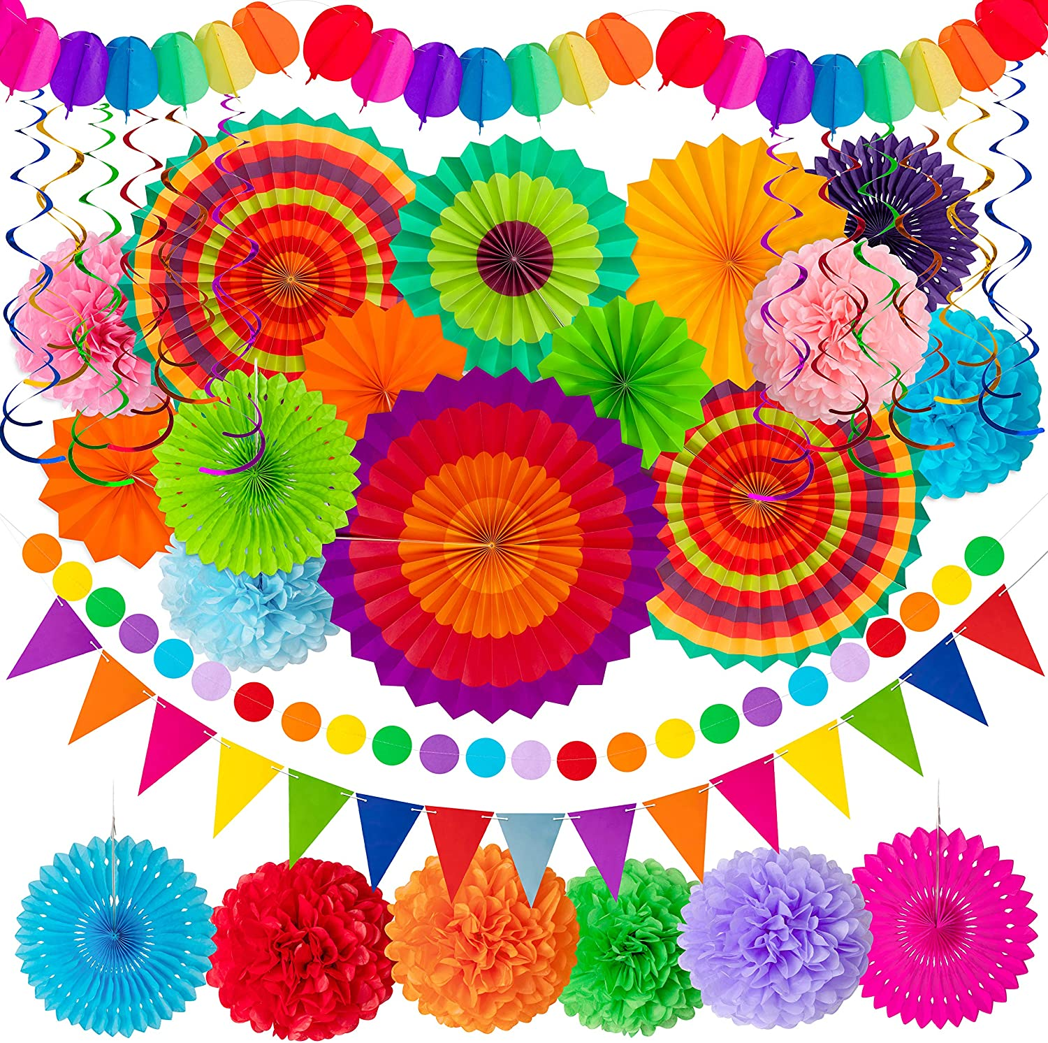 Moon Boat 35PCS Fiesta Paper Fan Party Decorations Set - Cinco De Mayo Pom Poms,Pennant,Garland String,Banner,Hanging Swirls Decor Supplies: Toys & Games