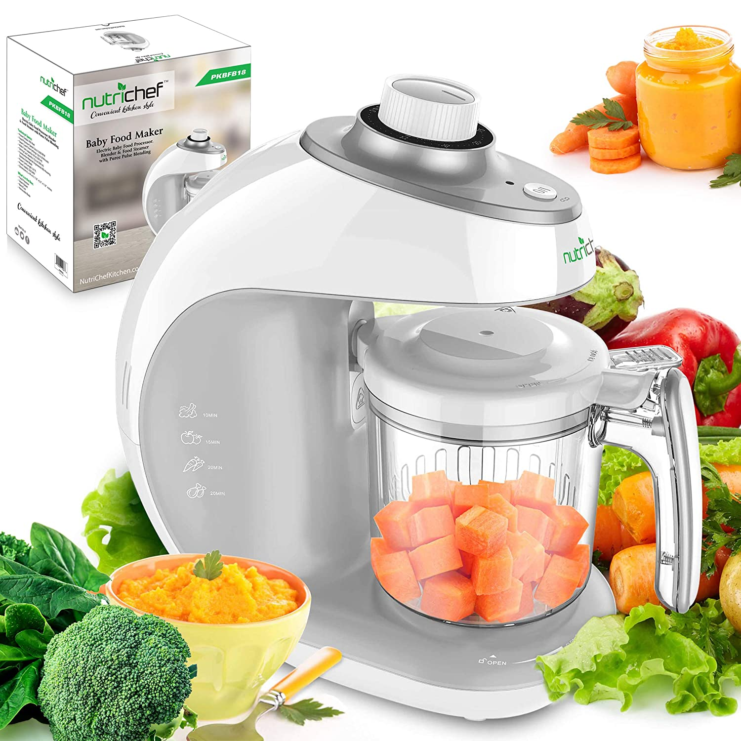 NutriChef Digital Baby Food Maker Machine - 2-in-1 Steamer Cooker and Puree Blender Baby Food Processor with Steam Timer - Steam, Blend Organic Homemade Food for Newborn Babies, Infants, Toddlers