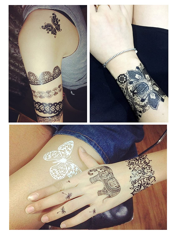 ChicTats Tatuajes temporales de encaje negros – Arte corporal ...