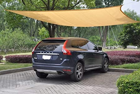 YGS 20 ft x 20 ft Oversized Sun Shade Sail UV Block Fabric Patio Shade Sail in Color Sand