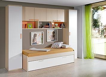 Abitti Dormitorio Juvenil Completo Color Arce, Blanco y Naranja: Cama Nido 90x190cm + 2 armarios Altos + estantería Puente 4 Puertas + 2 estantes de Pared: ...