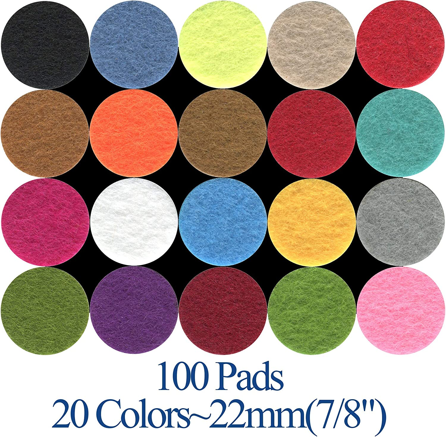 """Springcreek USA (100 Pad Value Pack) Aromatherapy Essential Oil Diffuser Locket Necklace Refill Pads, 7/8"""" (22mm) Diameter, 20 Assorted Colors"""