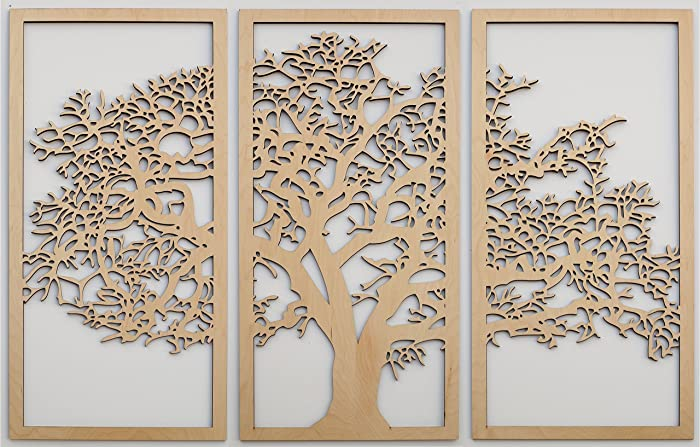 Wooden Wall Art Panels Part - 21: Tree Of Life 3D Maple - 3 Panel Wood Wall Art - Beautiful Living Room Decor