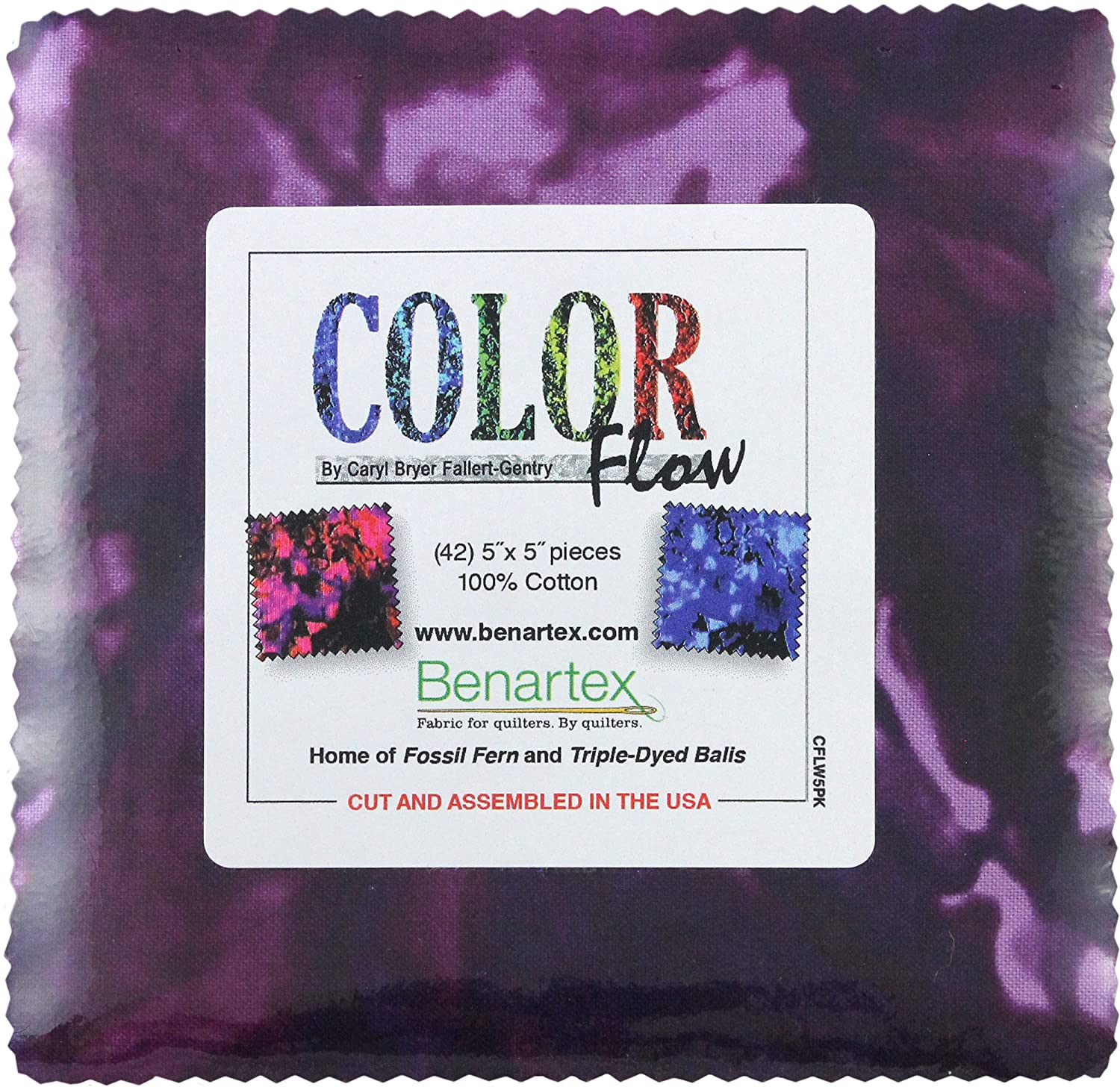 Caryl Bruer Fallert-Gentry Color Flow 5X5 Pack 42 5-inch Squares Charm Pack Benartex