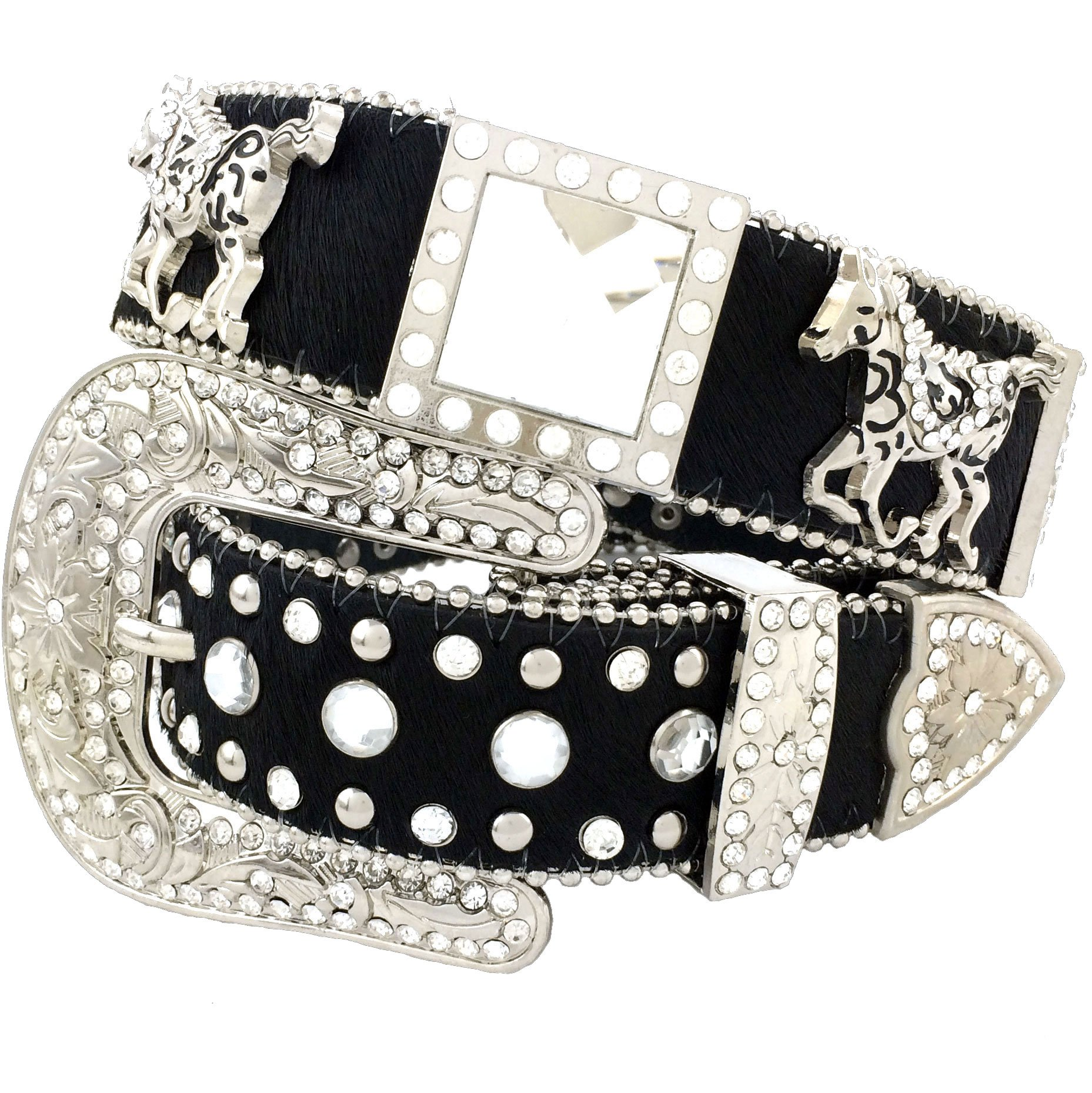Western Peak Women's Horse Hair Square Horse and Concho Rhinestone Belt Black (M)