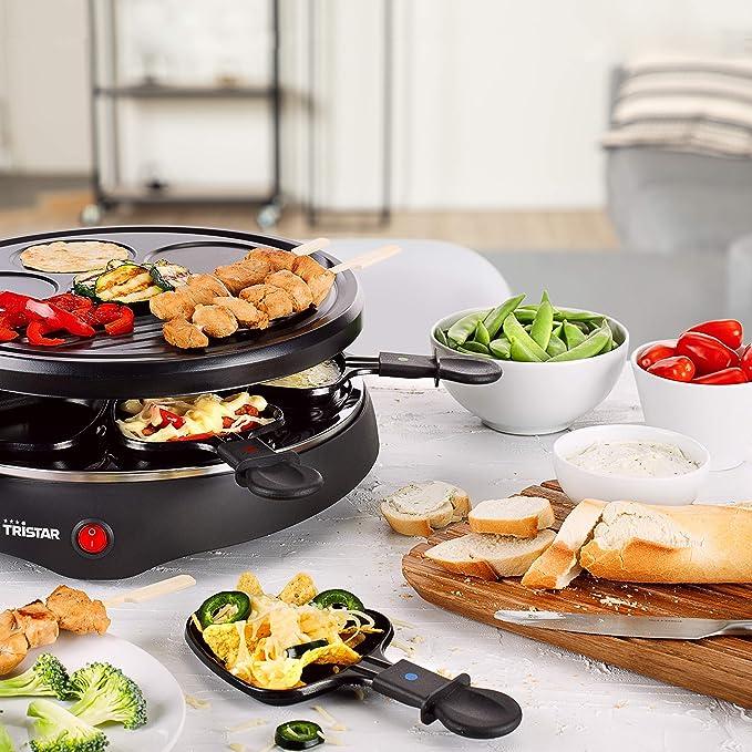 Tristar Raclette para hasta 6 personas con 6 sartenes y crepes de rango/25 cm de diámetro, RA de 2998, Negro: Amazon.es: Hogar