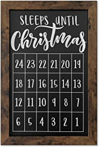 Loddie Doddie 20 x 30 Rustic Framed Sleeps 'Til Christmas Countdown Chalkboard - Magnetic Surface - Works Great with Chalk Markers and Chalk Sticks - Perfect for Rustic Christmas Decor