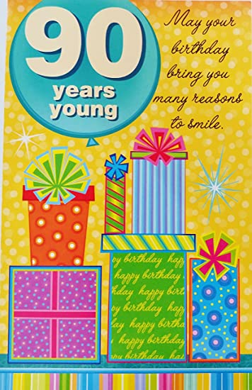 Amazon.com: 90 años Young, color Happy 90th Tarjeta de ...