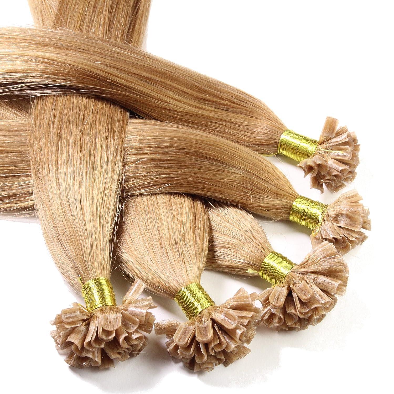 Just Beautiful Hair Estensioni dei capelli naturali a forma di U-tip Cheratina, Veri Remy Indiani 30cm - #12 biondo miele, 1 x 25 ciocche A2173