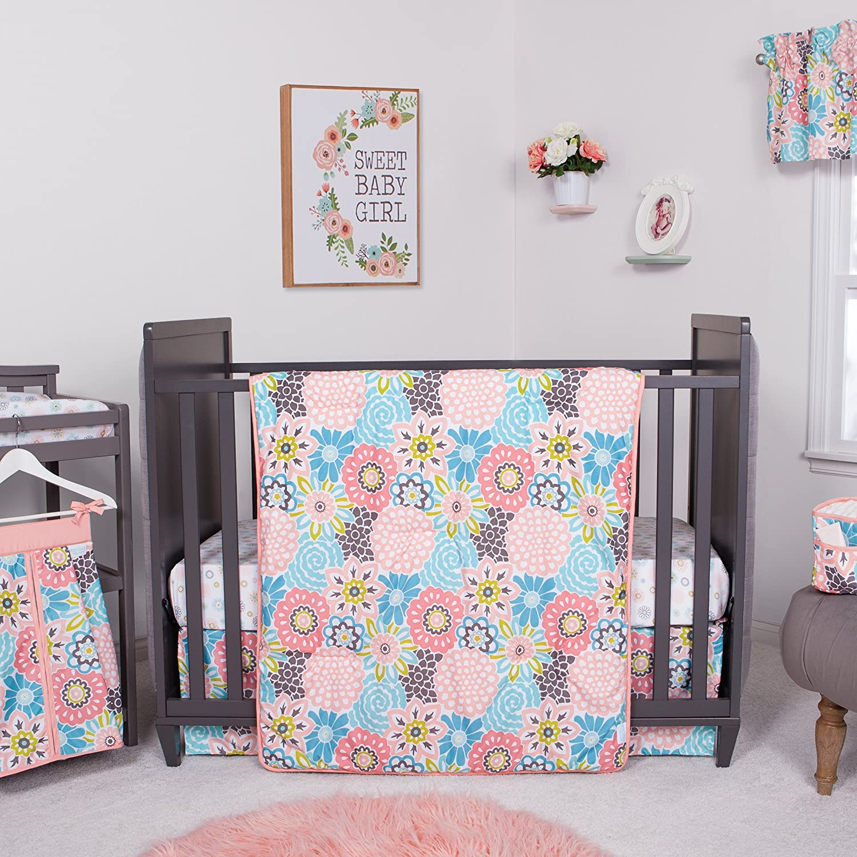 Waverly Blooms by Trend Lab 5ピース ベビーベッド寝具セット 保育園 ピンク   B07B4MHG9Y