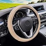 Capa de volante de carro Magnelex preta de couro de microfibra universal 38 cm (padrão, bege)